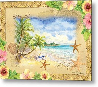 Sand Sea Sunshine On Tropical Beach Shores Metal Print