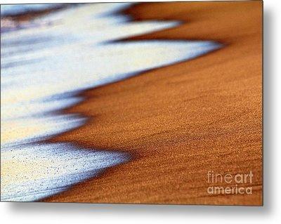 Sand And Waves Metal Print by Tony Cordoza