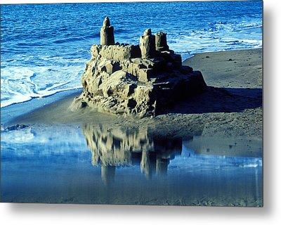 Sandcastle On Beach Metal Print by Garry Gay