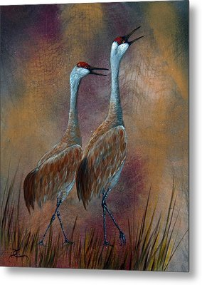 Sandhill Crane Duet Metal Print by Dee Carpenter