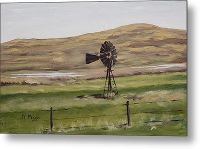 Sandhills Windmill Metal Print