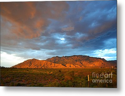 Sandia Mountains Colorful Sunset Metal Print by Andrea Hazel Ihlefeld