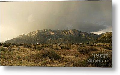 Sandia Mountains In Evening Storm Metal Print by Matt Tilghman
