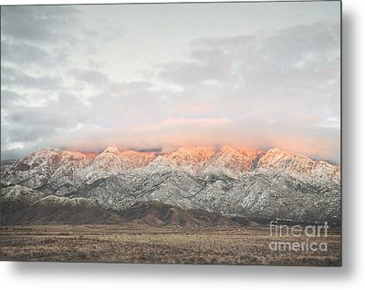 Sandia Mountains Rustic Sunset Landscape Metal Print by Andrea Hazel Ihlefeld