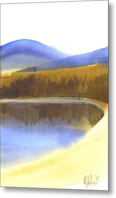 Metal Print featuring the painting Sandy Blue Dusky Mountain Lake by Kip DeVore