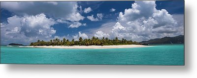 Sandy Cay Beach British Virgin Islands Panoramic Metal Print by Adam Romanowicz