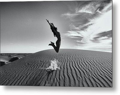 Sandy Dune Nude - The Jump Metal Print