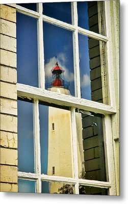Sandy Hook Lighthouse Reflection Metal Print by Gary Slawsky