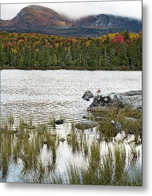 Sandy Stream Pond View Of Baxter Peak In Baxter State Park Maine Metal Print by Brendan Reals