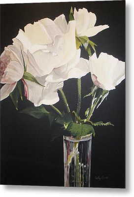 Metal Print featuring the painting Sandys Roses by Betty-Anne McDonald