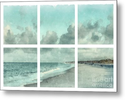 Sanibel Island Bowman Beach Watercolor Grid Metal Print