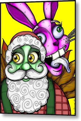 Santa And Bunny Metal Print by Christopher Capozzi
