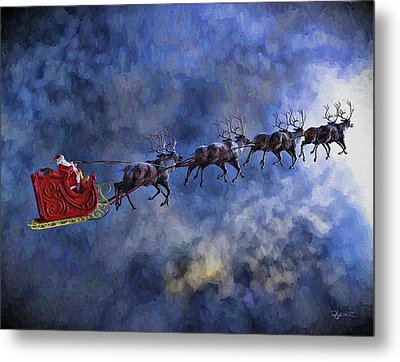 Santa And Reindeer Metal Print
