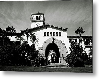 Santa Barbara Courthouse Black And White-by Linda Woods Metal Print by Linda Woods