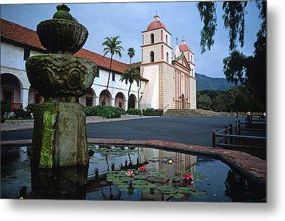 Santa Barbara Mission With Fountain 2 Metal Print by Kathy Yates