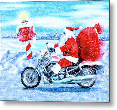 Metal Print featuring the mixed media Santa Claus Has A New Ride by Mark Tisdale