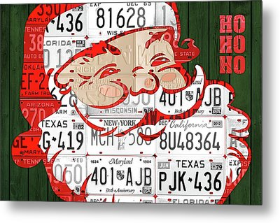 Santa Claus Ho Ho Ho Recycled Vintage Colorful License Plate Art Metal Print