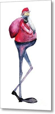 Santa Claus, Watercolor Illustration Metal Print