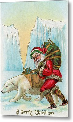Santa Claus With A Polar Bear At The North Pole Metal Print by American School