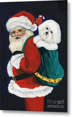Santa Claus With Bichon Frise Metal Print