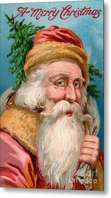 Santa Claus With Christmas Tree Metal Print