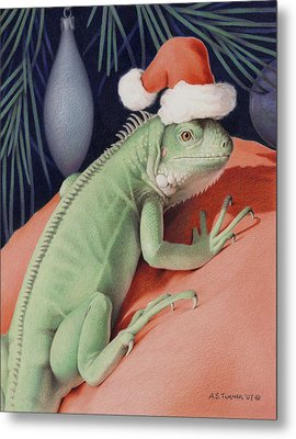 Santa Claws - Bob The Lizard Metal Print by Amy S Turner