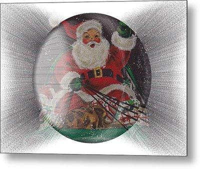 Santa Delivering Gifts Metal Print