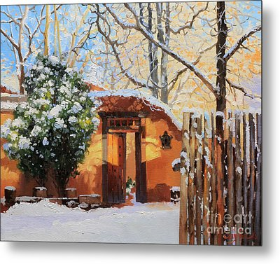 Santa Fe Adobe In Winter Snow Metal Print by Gary Kim