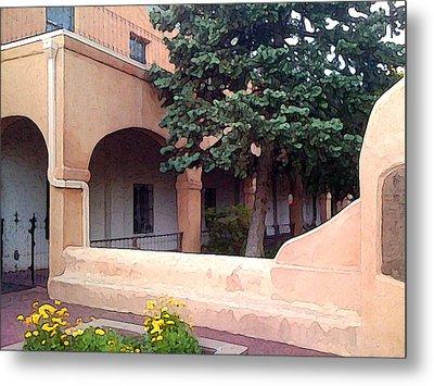 Santa Fe Church Courtyard Metal Print by Charlie Spear