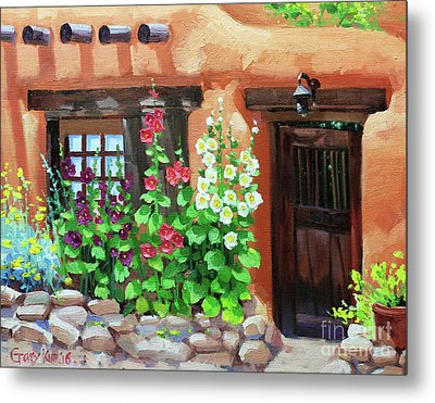 Santa Fe Hollyhocks Metal Print by Gary Kim