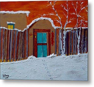 Santa Fe Snowstorm Metal Print