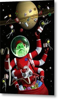 Santa In Space Metal Print by Alex Tomlinson