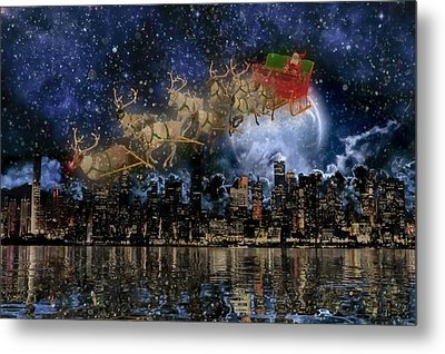 Santa In The City Metal Print