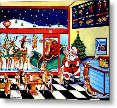 Santa Makes A Pit Stop Metal Print