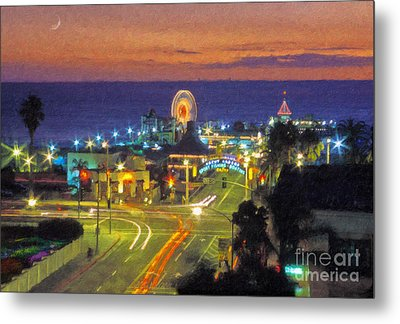 Metal Print featuring the photograph Santa Monica Ca  Pacific Park Pier by David Zanzinger