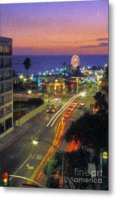 Metal Print featuring the photograph Santa Monica Ca Pacific Park Pier  Sunset by David Zanzinger