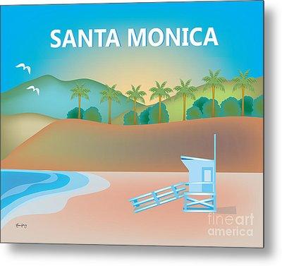 Santa Monica, California Horizontal Wall Art By Loose Petals Metal Print by Karen Young