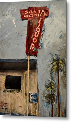 Metal Print featuring the painting Santa Monica Liquor by Lindsay Frost
