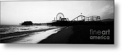 Santa Monica Pier Black And White Panoramic Photo Metal Print by Paul Velgos