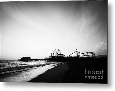 Santa Monica Pier Black And White Photo Metal Print by Paul Velgos