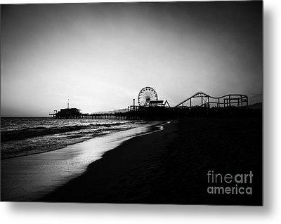 Santa Monica Pier Black And White Photography Metal Print