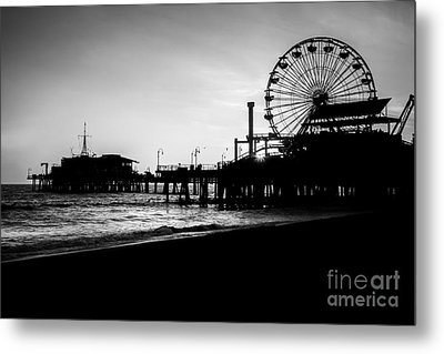 Santa Monica Pier Black And White Picture Metal Print by Paul Velgos