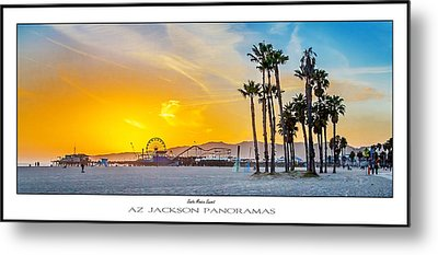 Santa Monica Sunset Poster Print Metal Print by Az Jackson
