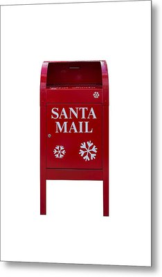 Santa Red Mail Box Metal Print
