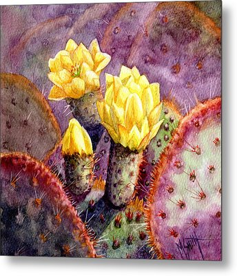 Metal Print featuring the painting Santa Rita Prickly Pear Cactus by Marilyn Smith
