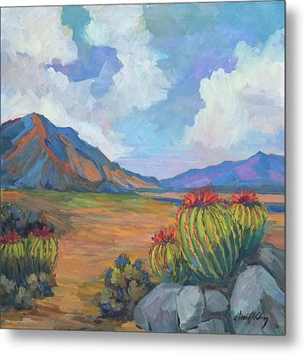 Santa Rosa Mountains And Barrel Cactus Metal Print