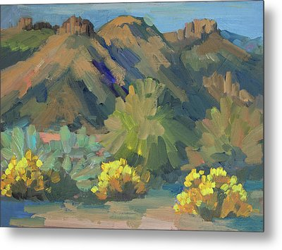Metal Print featuring the painting Santa Rosa Mountains And Brittle Bush by Diane McClary