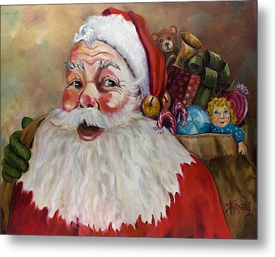 Santa With Bag Of Toys Metal Print by Sheila Kinsey