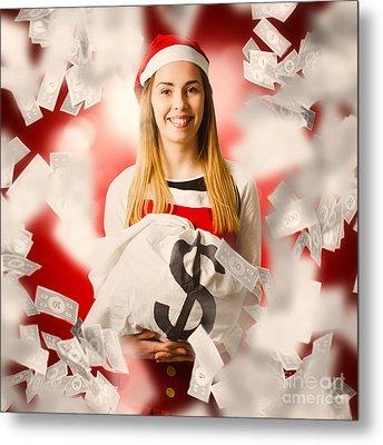 Santa Woman Celebrating A Money Bag Win Metal Print