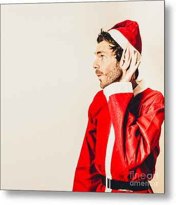 Metal Print featuring the photograph Santas Little Helper Listening To Christmas Orders by Jorgo Photography - Wall Art Gallery
